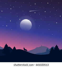 Night Landscape with silhouettes of hills, wolf, forest and beautiful night sky with stars and the moon.