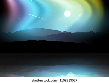 Night landscape with silhouettes of mountains against a northern lights sky