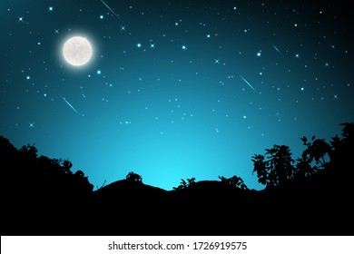Night landscape with silhouettes of mountains and sky with stars and fullmoon, Starry night sky background.  blue sky with shinning stars, vector illustration