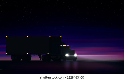 Night large classic big rig semi truck with headlights and dry van semi riding in the dark on the night road on colorful starry sky background, vector illustration