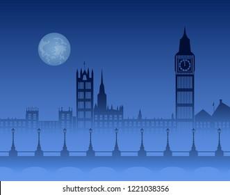 night London skyline, Thames in fog, bridge with lanterns, Big Ben and  big moon on dark blue background