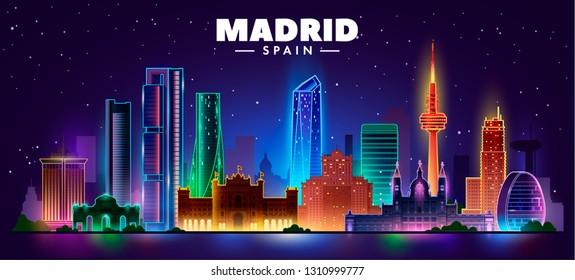 Night madrid skyline. Vector illustration
