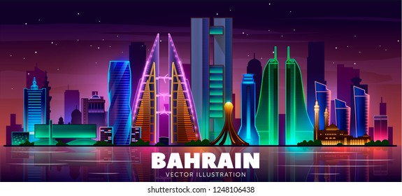 Night Manama city skyline. The capital of the country is Bahrain. Vector illustration.