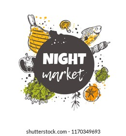 Night market concept design. Traditional asian street food marketplace. National products. Hand drawn vector illustration. Can be used for menu, poster, banner, emblem, sticker, placard.