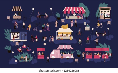 Night market or nighttime outdoor fair. Men and women walking between stalls or kiosks, buying goods, eating street food, talking to each other. Colorful vector illustration in flat cartoon style.