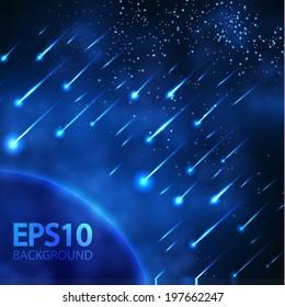 Night meteor sky. Vector illustration