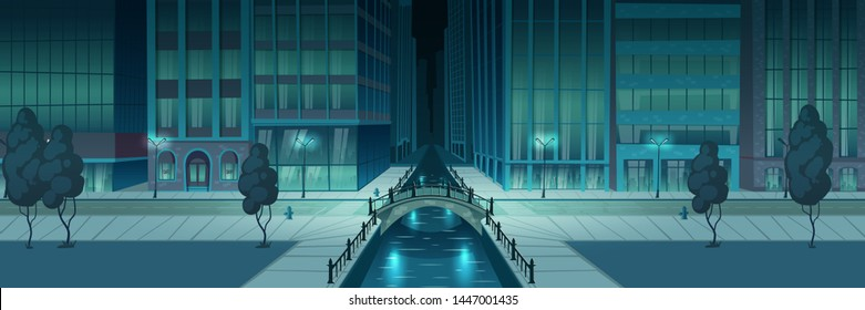 Night metropolis street illuminated with city lights, storefronts on skyscrapers building, two line road, arch bridge over river or water channel and sidewalk on embankment cartoon vector illustration