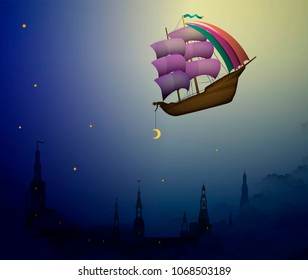 night miracle, ship in the evening sky in clouds above the city,  fairy boy putting moon on the night sky, fairy dreamland sailor on the heavens, vector