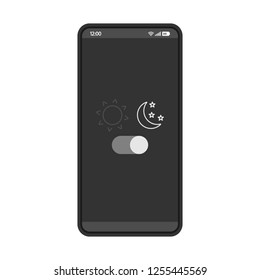 Night mode smartphone interface vector template. Mobile app page design layout. Sleeping mode turn on, off screen. Light filter toggle button. Flat UI application. Phone display brightness settings