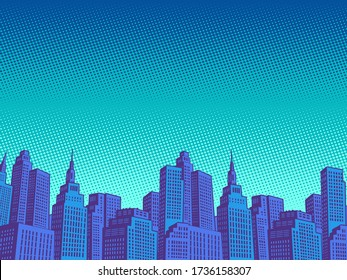 night modern city with skyscrapers. Pop art retro vector illustration vitch vintage 50s 60s style