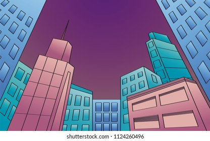 Night modern city with skyscrapers. View from below. Inclined perspective. Original hand drawn illustration.