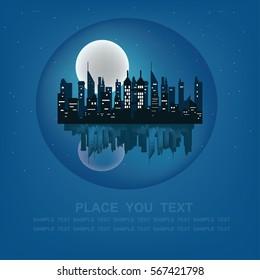 Night modern cityscape. Flat style vector illustration.