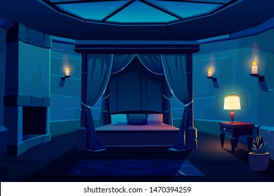 Night modern hotel luxury apartments in medieval castle, ancient mansion, kings bedroom in burning candles light cartoon vector interior. Huge wooden bed with curtain, antique furniture and fireplace