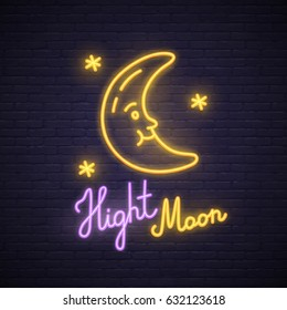 Night Moon neon sign. Neon sign, bright signboard, light banner.