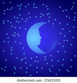Night moon with stars. Vector illustration