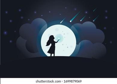 night moon woman star wish