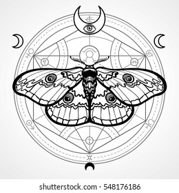 Night moth. Mystical circle. Esoteric symbol, sacred geometry. Sign of the moon. Monochrome drawing. Vector illustration. Print, posters, t-shirt, textiles.