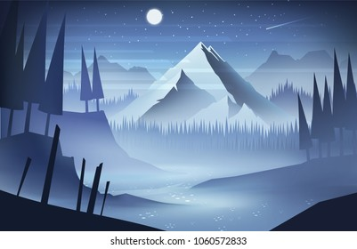 Night mountains landscape with stars and moon on the sky