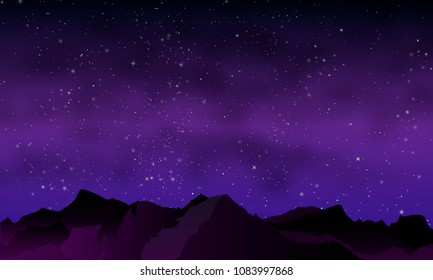 night mountains in purple tones