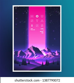 Night mountains vaporwave poster design. Template for your event advertising. Vector illustration.