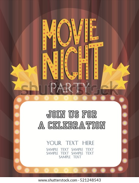 Night Movie Party Invitation Card Birthday Stock Image