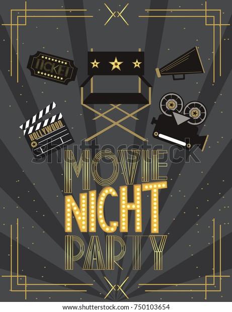 Night Movie Party Invitation Card Birthday Royalty Free