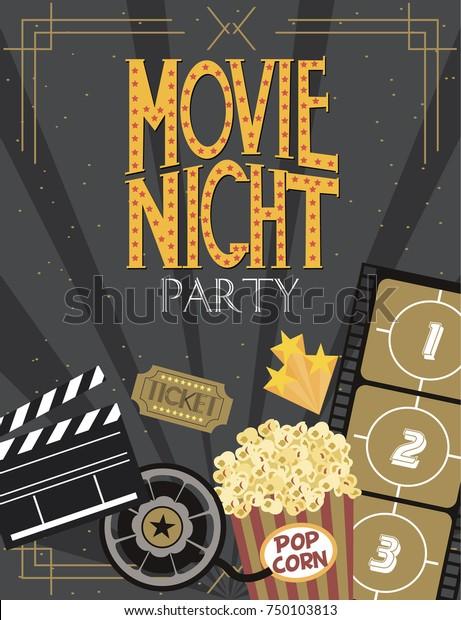 Night Movie Party Invitation Card Birthday Stock Vector