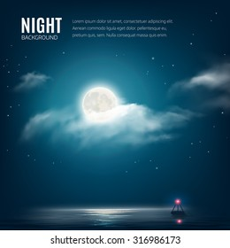 Night nature background, cloudy sky with stars, moon and calm sea with beacon. Vector illustration