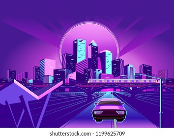 Night neon city, car rides along the road going away, vector illustration