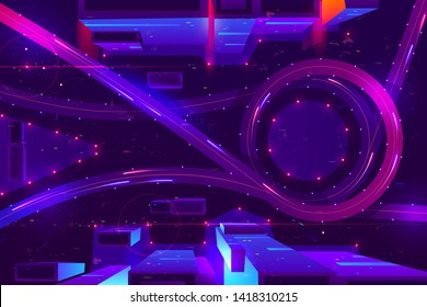 Night neon city with transport interchange top view. Urban architecture, modern megapolis with glowing skyscrapers, moving cars, old film with lines and pixel noise effect. Cartoon vector illustration