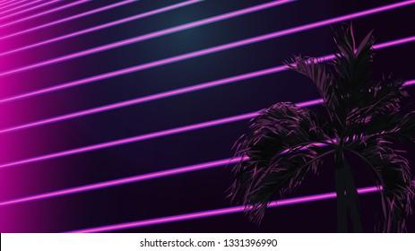 Night neon fluorescent background with palm tree, vaporwave / nostalgic feeling