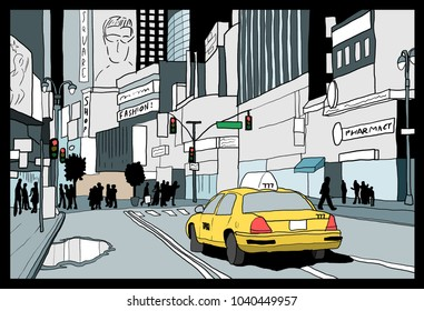 Night in New York City - illustration of Times Square, Midtown Manhattan.