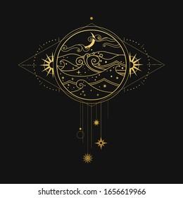 Night ocean with luminous plankton. Vector hand drawn illustration in boho style