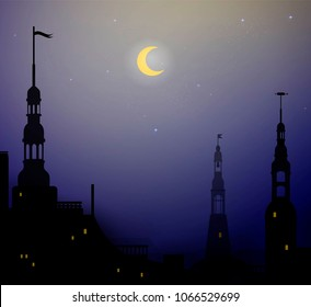 night in old city with tower, beautiful night, vector