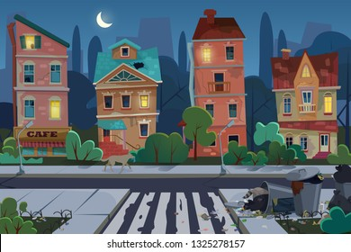 Night old city view with rubbish and dirty area at the street. Environmental pollution and ecology concept. Unfavorable abandoned residential area vector illustration.