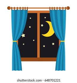 Night out the window with blue curtains isolated on white background. Sleep and rest vector illustration