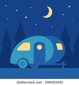 Night outdoor landscape with retro camper trailer in woods. Cute vintage mobile home camping scene, simple flat cartoon style vector illustration.
