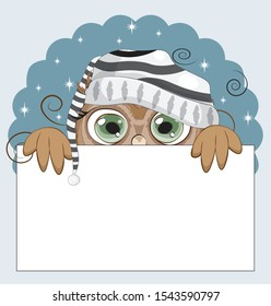 night Owl with green eyes, on sky in striped cap frame. Picture in hand drawing cartoon style, for sale or text frame, greeting or business card, party invitation