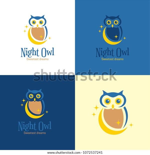 Night Owl Logo Icon Vector Illustration Stock Vector (Royalty Free