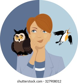 Night owl or morning lark? Portrait of a pensive woman, an owl and a lark on her shoulders, EPS 8 vector illustration