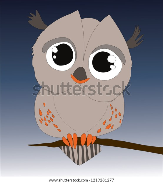 Night Owl Sitting On Branch Vector Stock Vector (Royalty Free