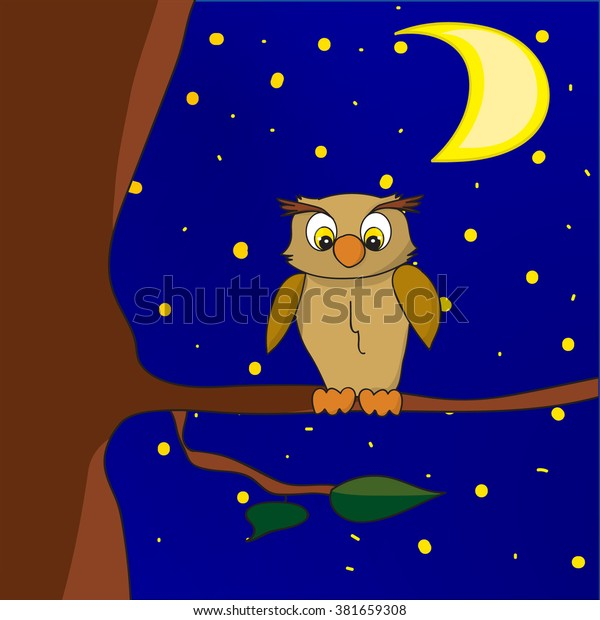 Night Owl Sitting On Tree Moon Stock Vector (Royalty Free) 381659308