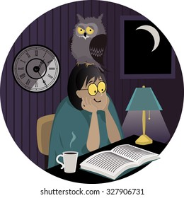 Night owl. A woman with an owl on her head reading a book late at night, EPS 8 vector illustration, no transparencies