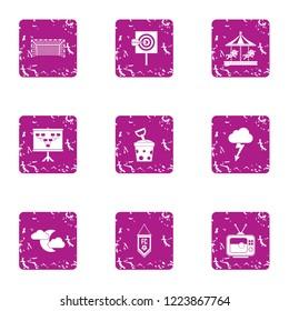 Night parkland icons set. Grunge set of 9 night parkland vector icons for web isolated on white background