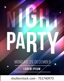 Night party abstract vector banner. Night club poster