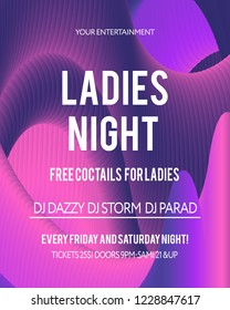Night Party banner template for art event promotion. Glowing fiber effect background. Ladies night, karaoke party, deep trance music.