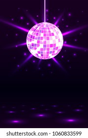Night party. Disco ball background. Night dance party music. Shining party background. Glowing circle. Vector illustration.