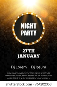 Night party flyer template design. Gold and black vector background
