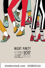 Night party hand  drawn colorful poster with dancing legs. Dance, event, festival vector Illustration placard.