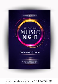 Night party, music night poster template. Electro style, club party event flyer invitation, brochure